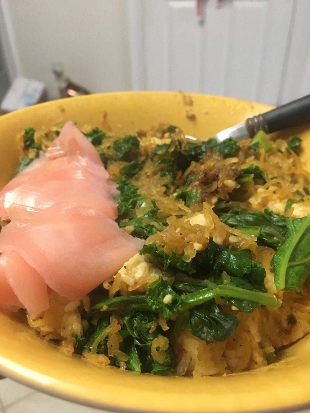 tempeh & spaghetti squash stir fri w/ sauteed spinach