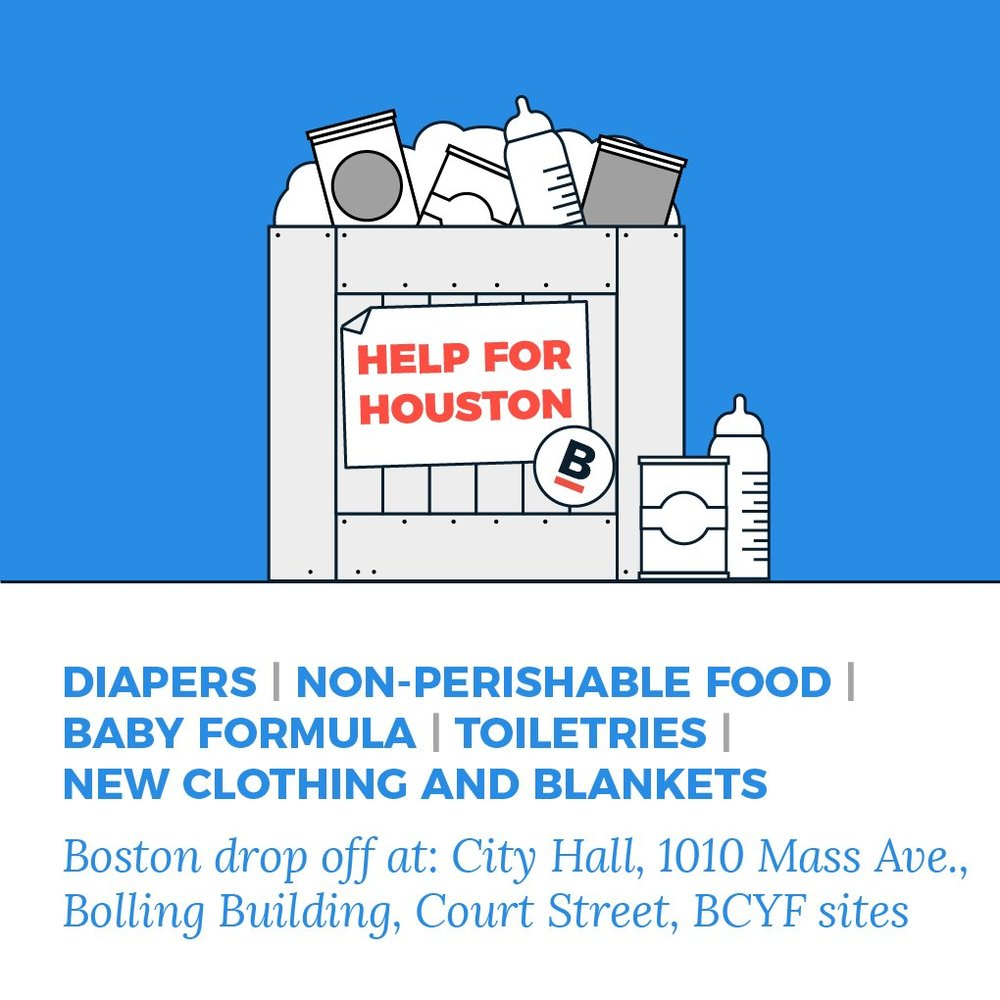 Boston's  #  HelpforHouston    Drive starts today! Please help us fill up our bins at City Hall, Bolling & BCYF Cntrs w/ much-needed items for TX.  Courtesy of Mayor Marty Walsh on Twitter
