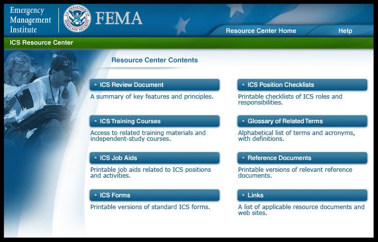 Snapshot of the FEMA ICS Resource Center