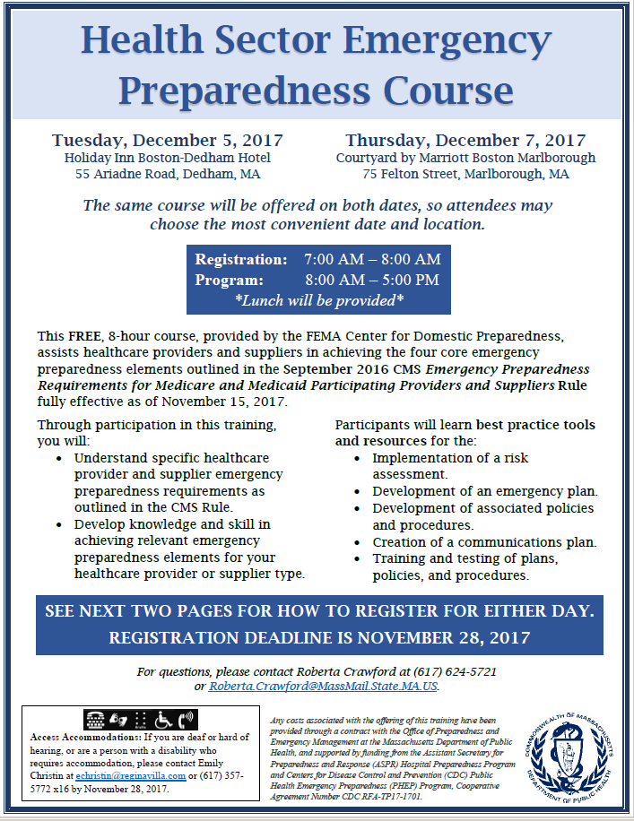 Dedham Health Sector Emergency Preparedness Course — MRPC