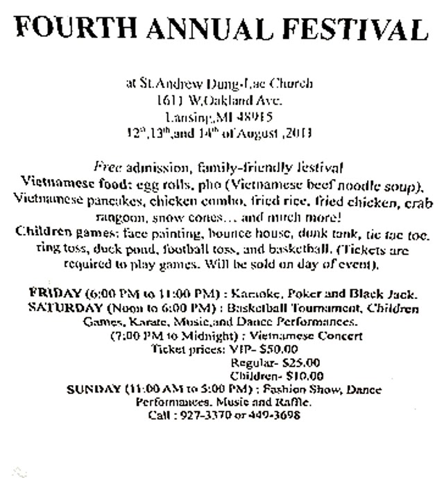 Promotional flyer for the festival