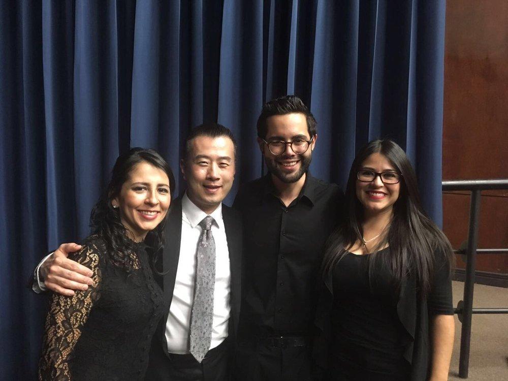 Susan Hernández, TJ Harper director del ACDA Exchange Program, Fabián Vargas y Dulce Santos.JPG