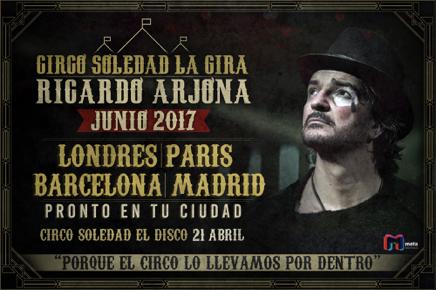"""·INICIO DE SU GIRA MUNDIAL EN EUROPA. LONDRES, PARIS, MADRID Y BARCELONA. ·LANZAMIENTO DE SU PRODUCCIÓN """"CIRCO SOLEDAD"""" ·PRIMER SENCILLO:""""ELLA"""""""