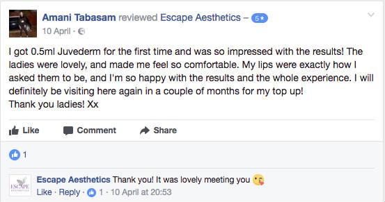 Lip Filler Facebook Review 2, Escape Aesthetics