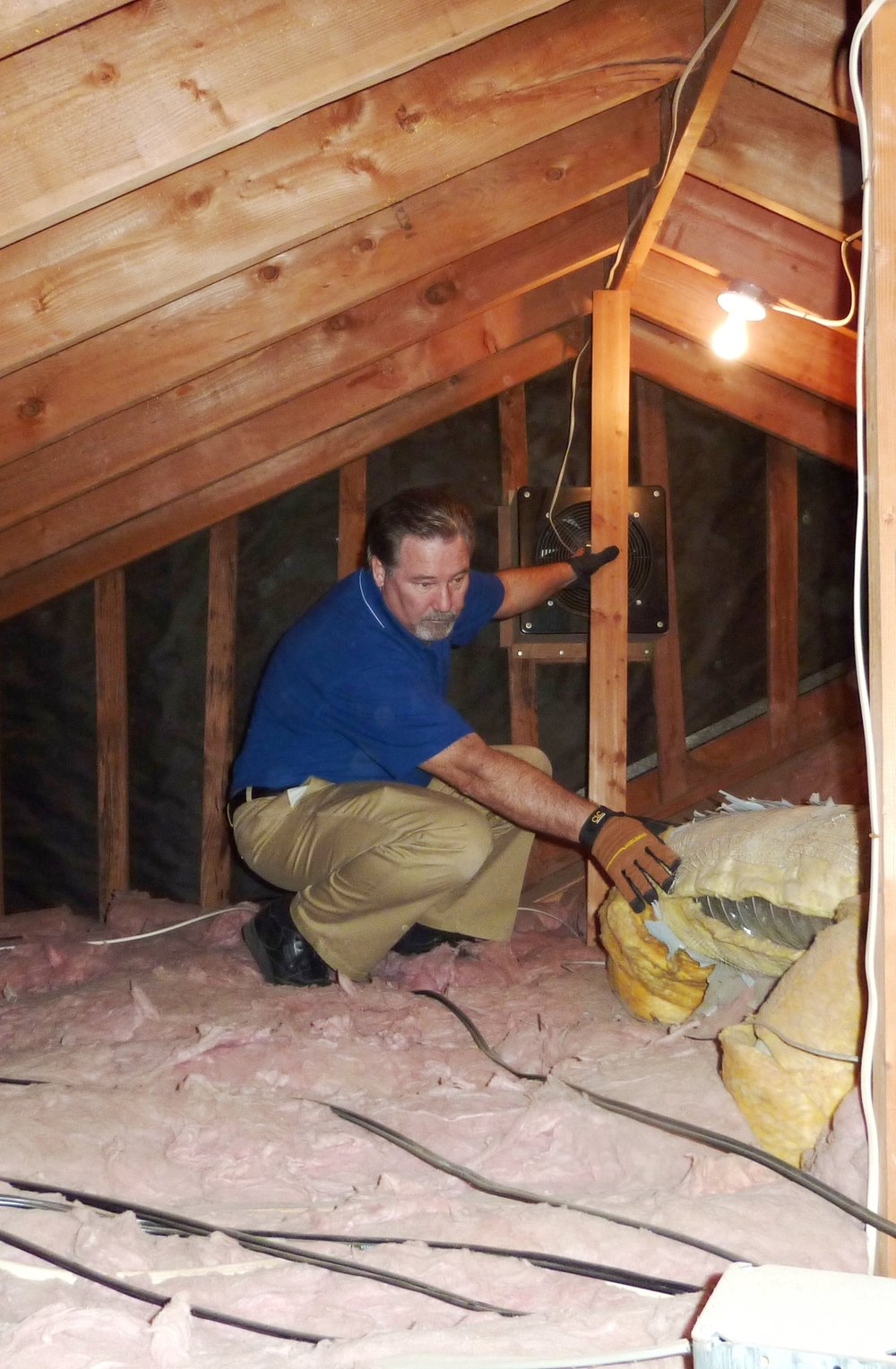 Discovering deteriorating insulation on ducting in the attic