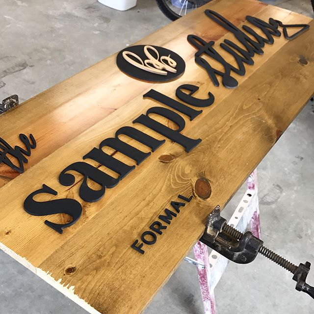 I created this 3 dimensional sign this week for the grand opening of @bbsamplestudio. With the help of Matt Schroer, my local laser cutting guy, I was able to bring this vision to life! Luckily I have a stash of lumber that I repurposed, and a handy husband, to make the perfect backdrop!
