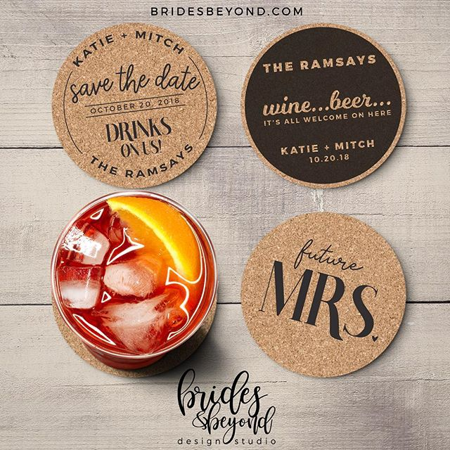 My latest obsession...cork coasters!!! A really cool idea for Save The Dates and so much more!  #savethedate #coasters #cork #customdesign #experiencebb #weddingfavors #weddingcoasters #weddinggifts #bachelorparty #bachelorette #weddinginspo #weddinginspiration