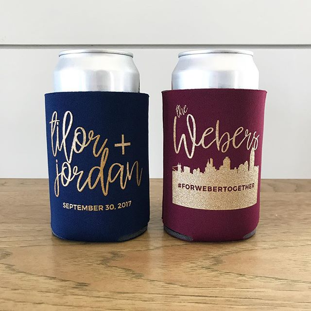 Burgundy + Navy koozies with a custom design for Tilor + Jordan. Just perfect! #forwebertogether