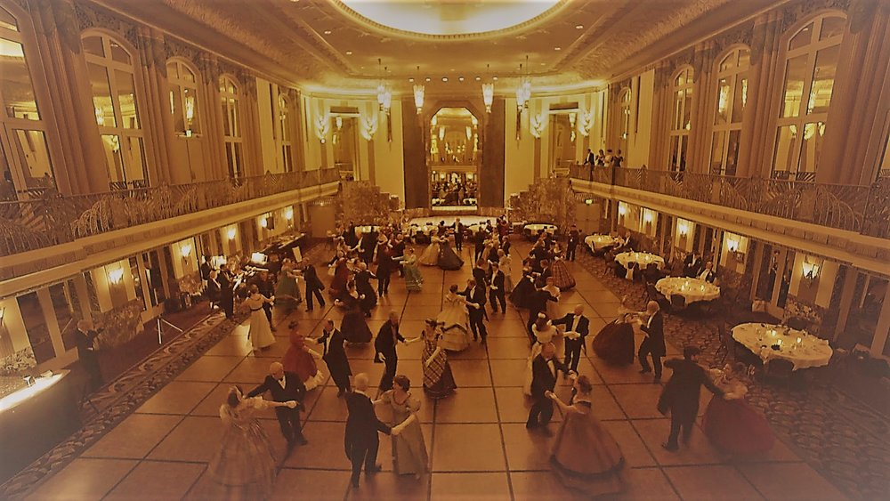Image from the Flying Cloud Vintage Dance Week (July 2017), Victorian Ball, Hall of Mirrors in the Hilton Netherland Plaza Hotel, Cincinnati OH
