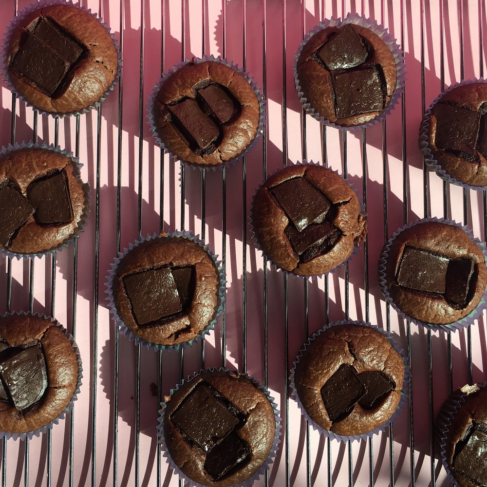 Delicious vegan chocolate cupcake in baking tray