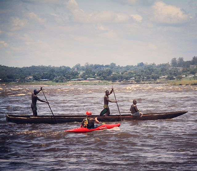 This is one of my favorite images that I captured during the Grand Inga Expedition. Back in 2012, I was on assignment with National Geographic @natgeo to follow Steve Fisher and his team on the first descent of the Inga Rapids of the mighty Congo River. This photo isn't particularly amazing BUT I love the dichotomy between alien and locals; plastic kayak and hand-hewn wood dugout canoe YET there's still this innate connection between all the paddlers. #waterislife #travelwriter #screenwriter