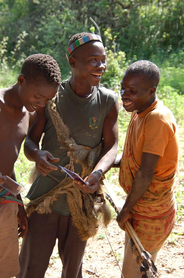 Hadzabe hunters instant photograph Tanzania