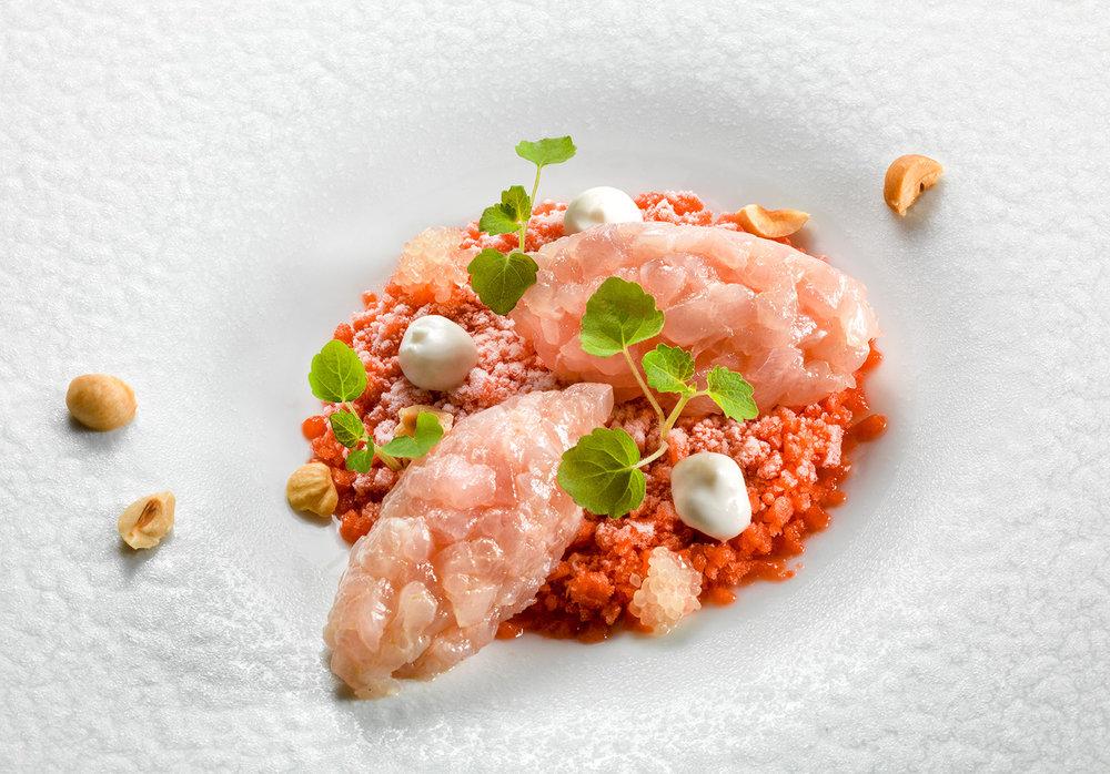 Amberjack tartare on strawberry granita, almond mousse and finger lime.jpg