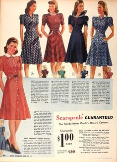 1940s: knee length, belted waist, square sleeves
