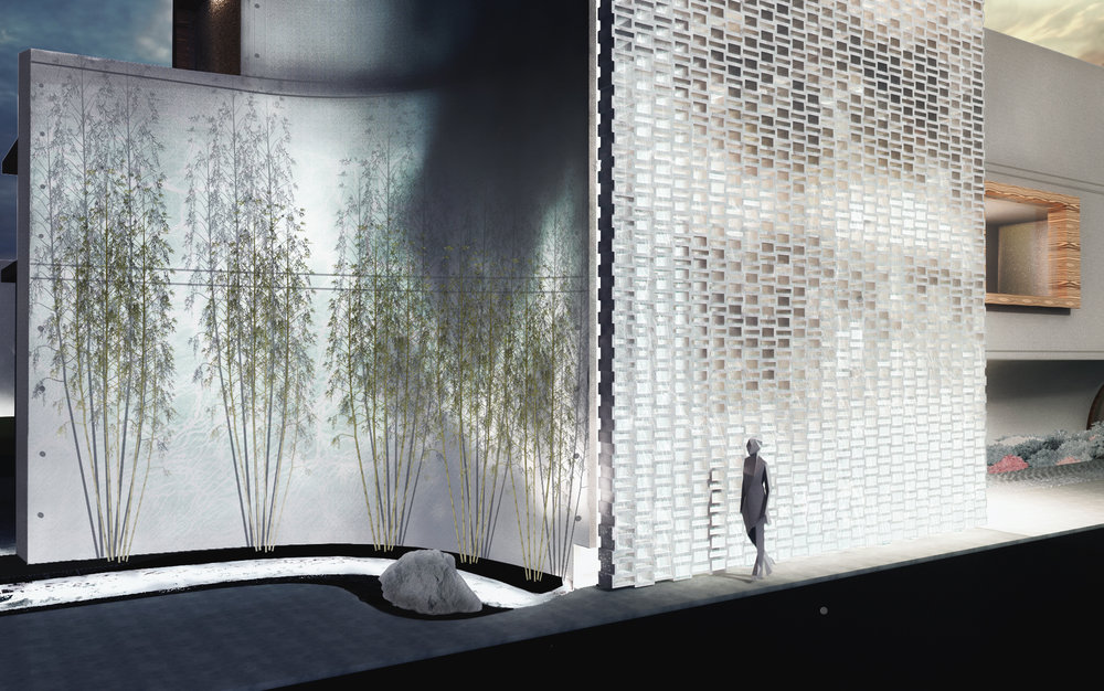 A perforated concrete masonry wall with a water feature behind, retaining light passage, but allowing for privacy of interior private programs in an intense adjacency to a large street.