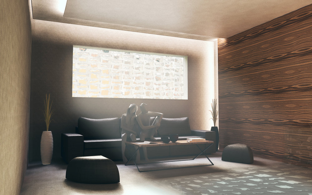 Interior view of the layered water feature and concrete masonry wall from an interior living room. Cove lighting in the dropped ceiling and layered feature wall projects into corners to soften edges and extend perceived interior space.