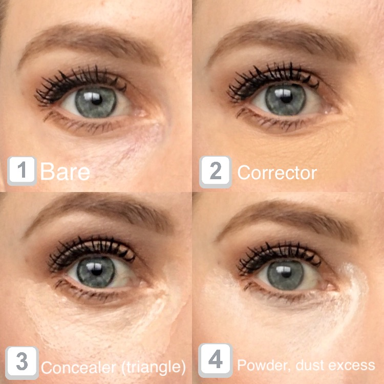Apply corrector - blend in and let dry momentarily. Apply concealer in a triangle shape and blend in, directly followed by powder. You don't have to apply excess like I have here - you can just pat over the area and blend in if you want. I prefer to add extra, let it sink in, then dust away 1 minute later.