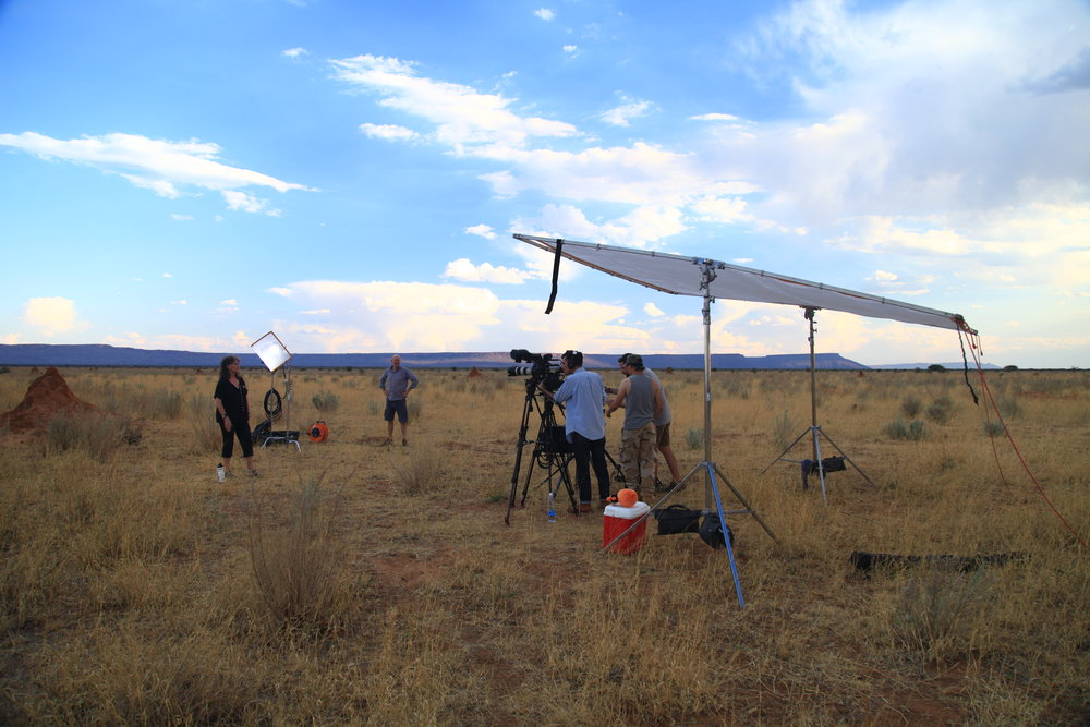 Documentary shoot in Namibia with the Waterberg Plateau in the background.