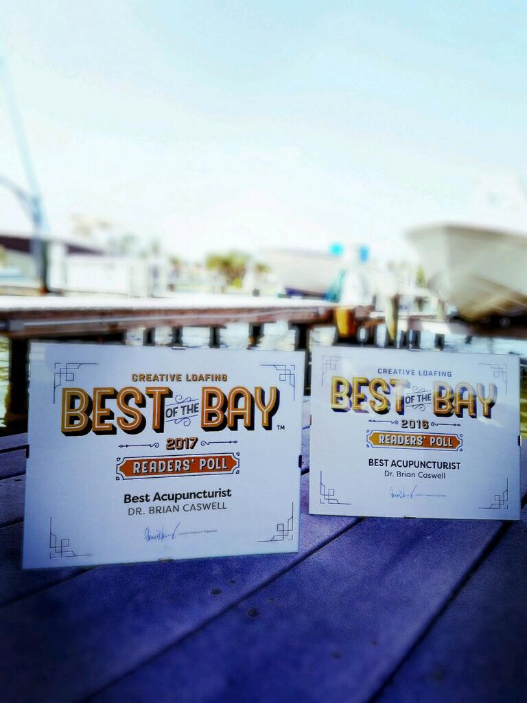 """Winner: 2016 &2017 """"Best of the Bay"""" Best Acupuncturist in Creative Loafing Tampa Bay."""