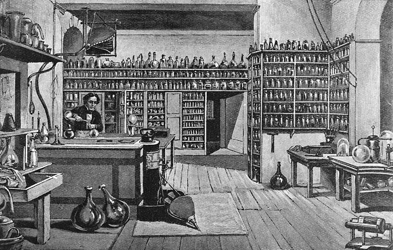 Faraday in his Lab at the Royal Institution