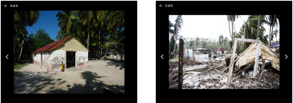 This project shows the original church (on the left) as well as after the hurricane (right).