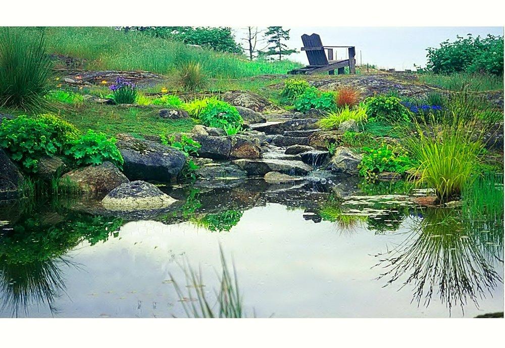 WATERFALL AND REFLECTING POOL