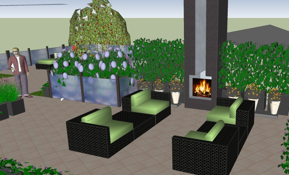 ROOFTOP PATIO WITH FIREPLACE