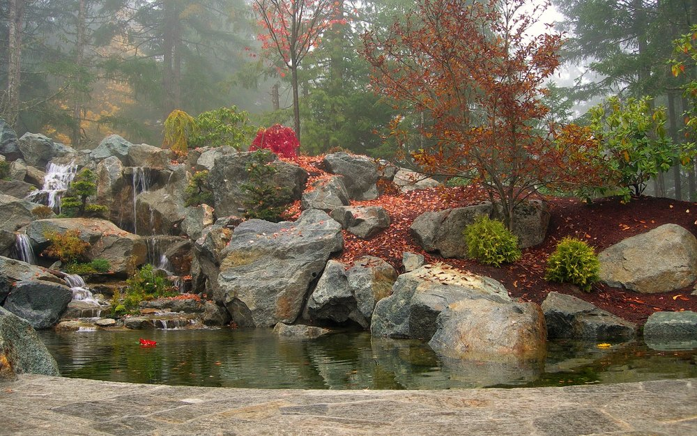 LARGE WATERFALL AND POND