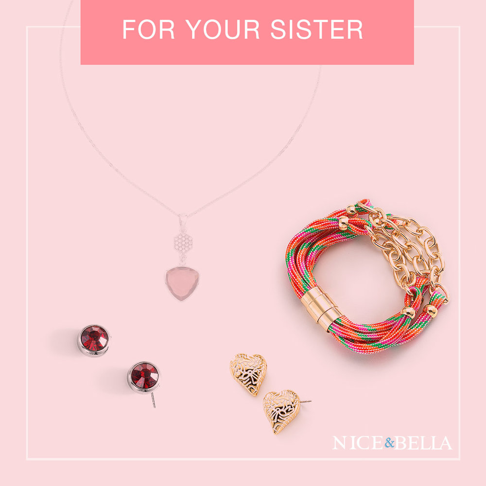 Pink Necklace: 316433  Red Earrings: 316252L  Heart Earrings: 316442L  Bracelet: 316556L