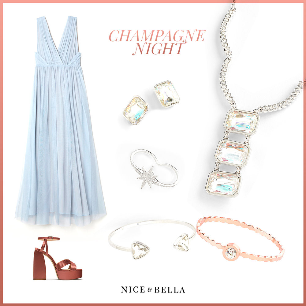 Pastel and shimmer galore! This long mesh  baby blue dress  and shimmery coral  platform sandal  are the perfect contrast. The superb look is accented with a rhodium shimmering crystal necklace, earrings, bracelet and ring. A dash of pink shimmer is added to the look with a simplistic rose gold bracelet.  Sku's: 118121, 118124, 118667, 118454, 317217