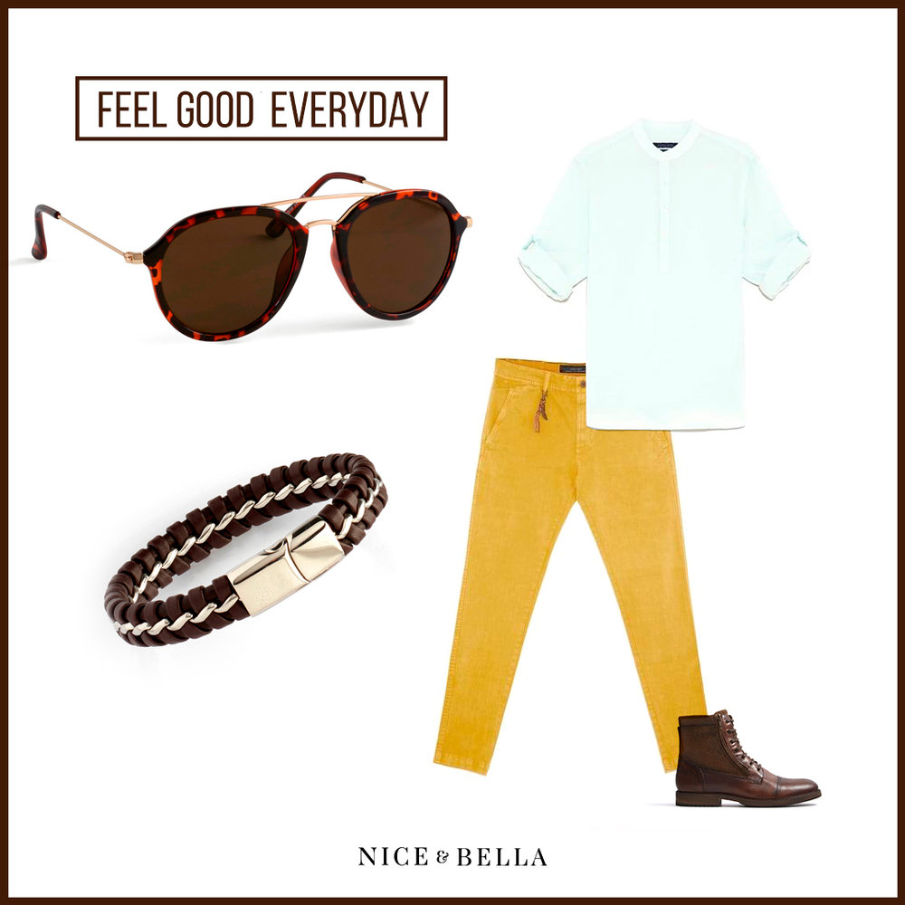 This everyday outfit is kept cool with a fresh, sea green  mandarin collar shirt , mustard, yellow  chino trousers  and brown  lace-up boots . The outfit is tied together with our stylish printed shades and brown leather men's bracelet.   Sku's : 1181412, 1181054