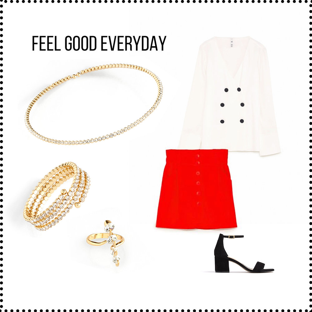 This everyday outfit stands out with its radiant red  mini skirt  and sheer white  pajama shirt . It's simmered down with a classic  black sandal . This ensemble is tied together with a gold, diamond encrusted choker, bracelet, and ring to add some sparkle and flare.   Sku's : 118314, 118311, 118316