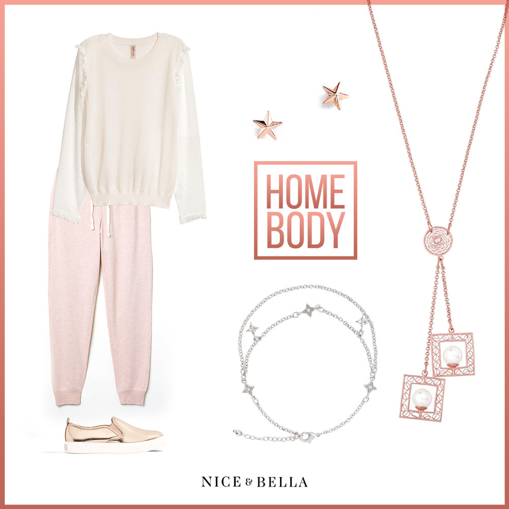 Being comfortable doesn't have to be gray and this outfit is perfect proof! This ensemble is made up with a shoulder  ruffled top, rosy pink joggers  and a shimmering slip on  sneaker . To amp up the look, it is paired with our thin, rhodium plated necklace, star stud earrings and cute, starry anklet.   Sku's : 118633, 118675, EE124