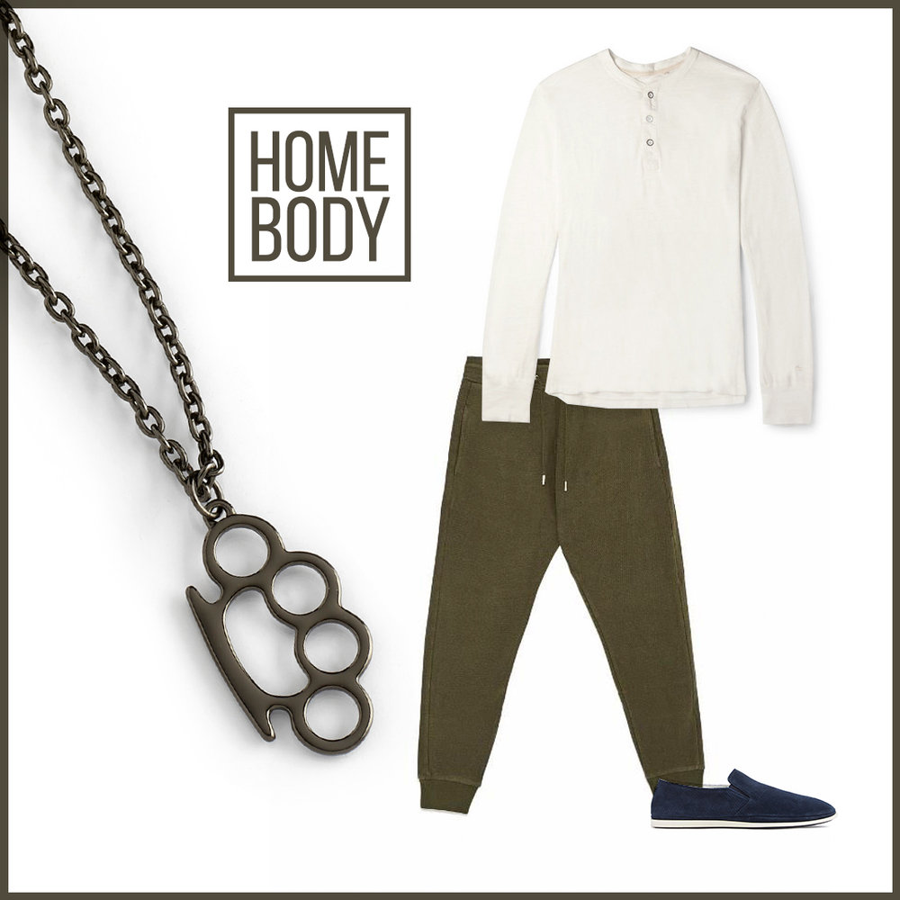 Comfort and style aren't a combination people are used to. In this ensemble you will find that comfort can definitely be stylish and in season! This super comfy ensemble includes the in-colors of the season with the off-white  Henley shirt , military green  joggers  all tied together with navy blue slip on  shoes . It is perfectly accented with our dark knuckle ring men's necklace.   Sku's : 118052