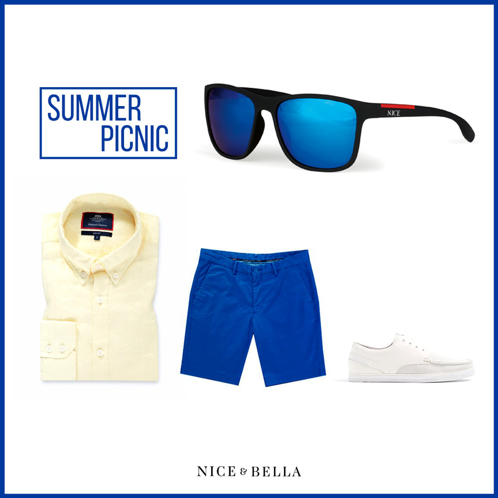 If this outfit could scream, it would scream summer! The  pastel yellow shirt  and  cobalt blue shorts  are the perfect contrast blended together with  white boat shoes . This look is accessorized with our blue lens, black and red frame shades to keep your eyes protected from the sun, all the while staying in style!   Sku's : 1181432