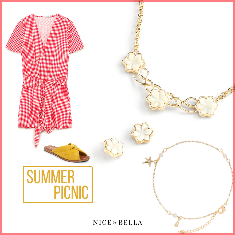 This ensemble is all about checks with a red and white  checkered romper . It's perfectly accented with sesame  yellow sandals . To add just the right amount of shine, it is accented with a gold, white flower collar necklace, earrings and a gold, white crystal anklet.   Sku's : 118522, 118521, EE120