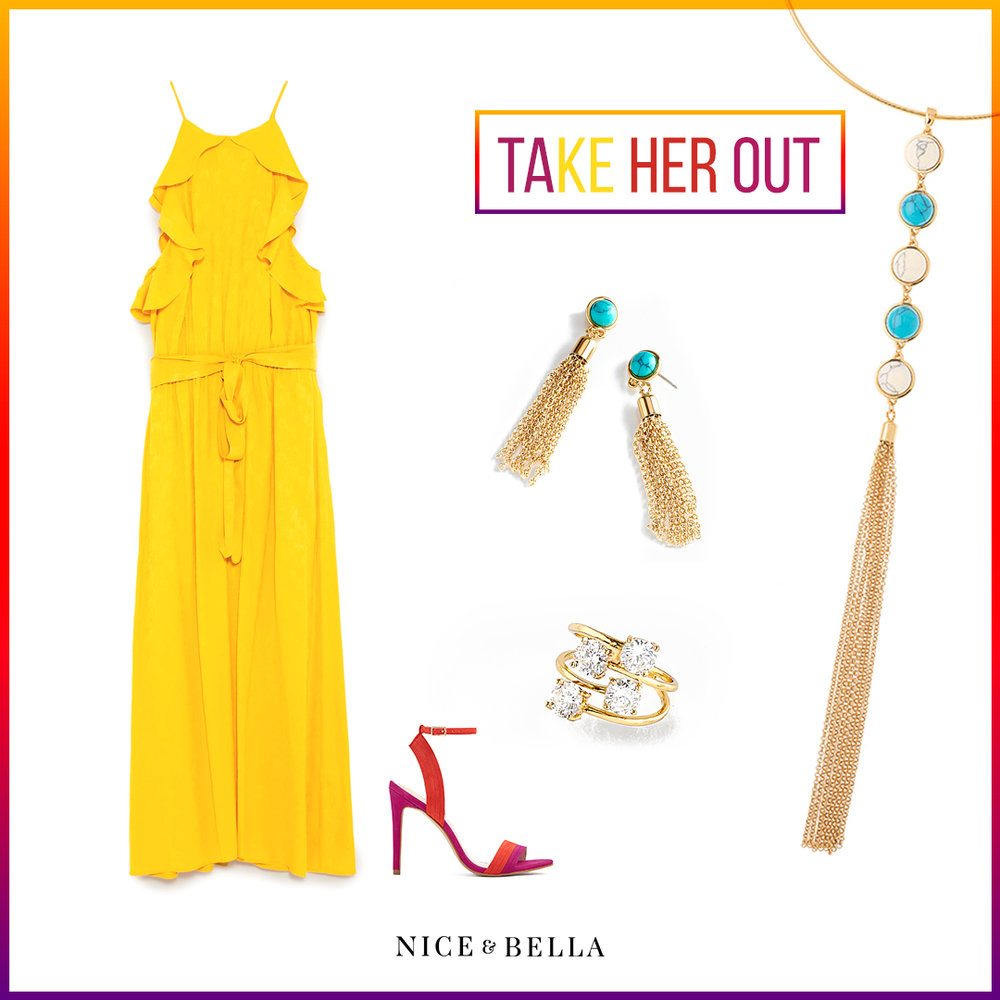 Bring out the bright colors with this amazing outfit! Mimic the sun with this vivid, yellow,  ruffled dress  and hot pink and orange  strappy sandals . This outstanding outfit is tediously paired with gold, marble blue and white necklace, earrings and gold, diamond accented ring.   Sku's : 317555, 317551, 317073