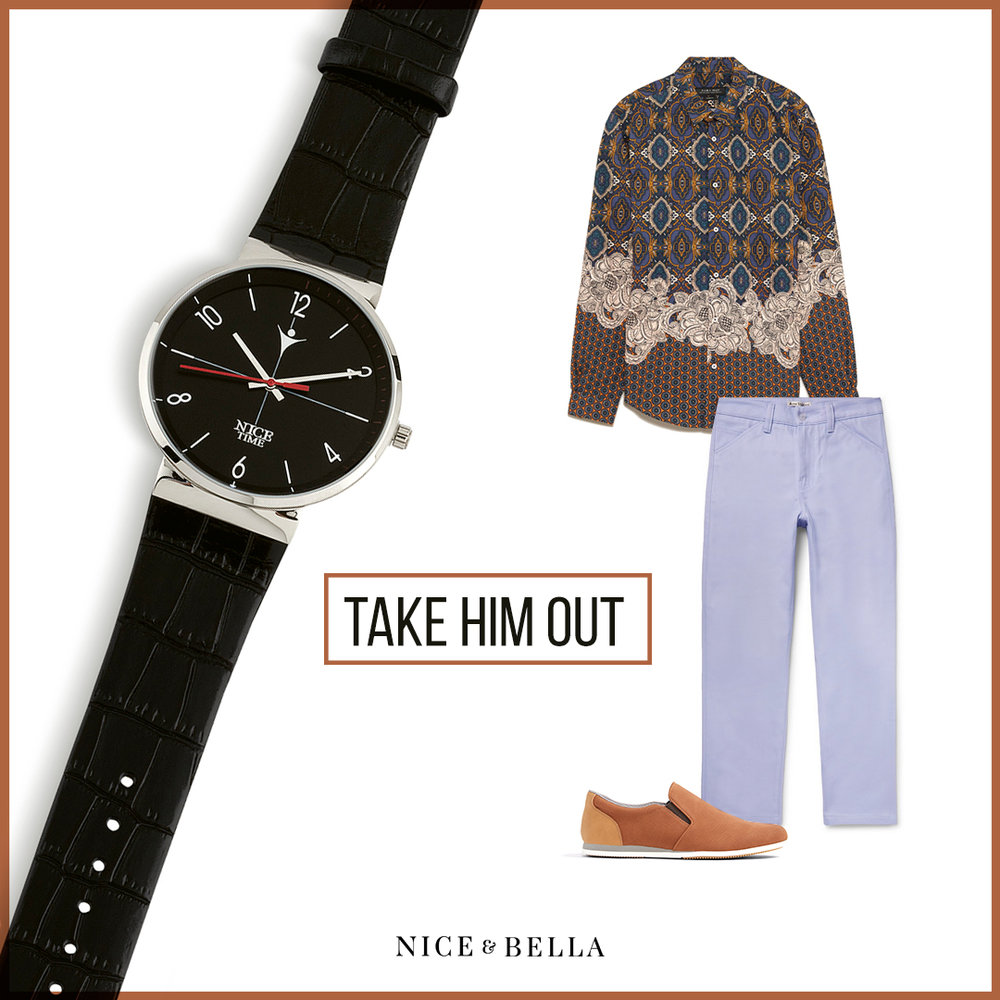 Pastels are for men, pastels are for everyone! This outfit includes a flower patterned, multi-color  button-up shirt  that is simmered down with some cool  lavender trousers  and  tan sneakers . The look is lightly accessorized with our rhodium and black watch.   Sku's : 1181212