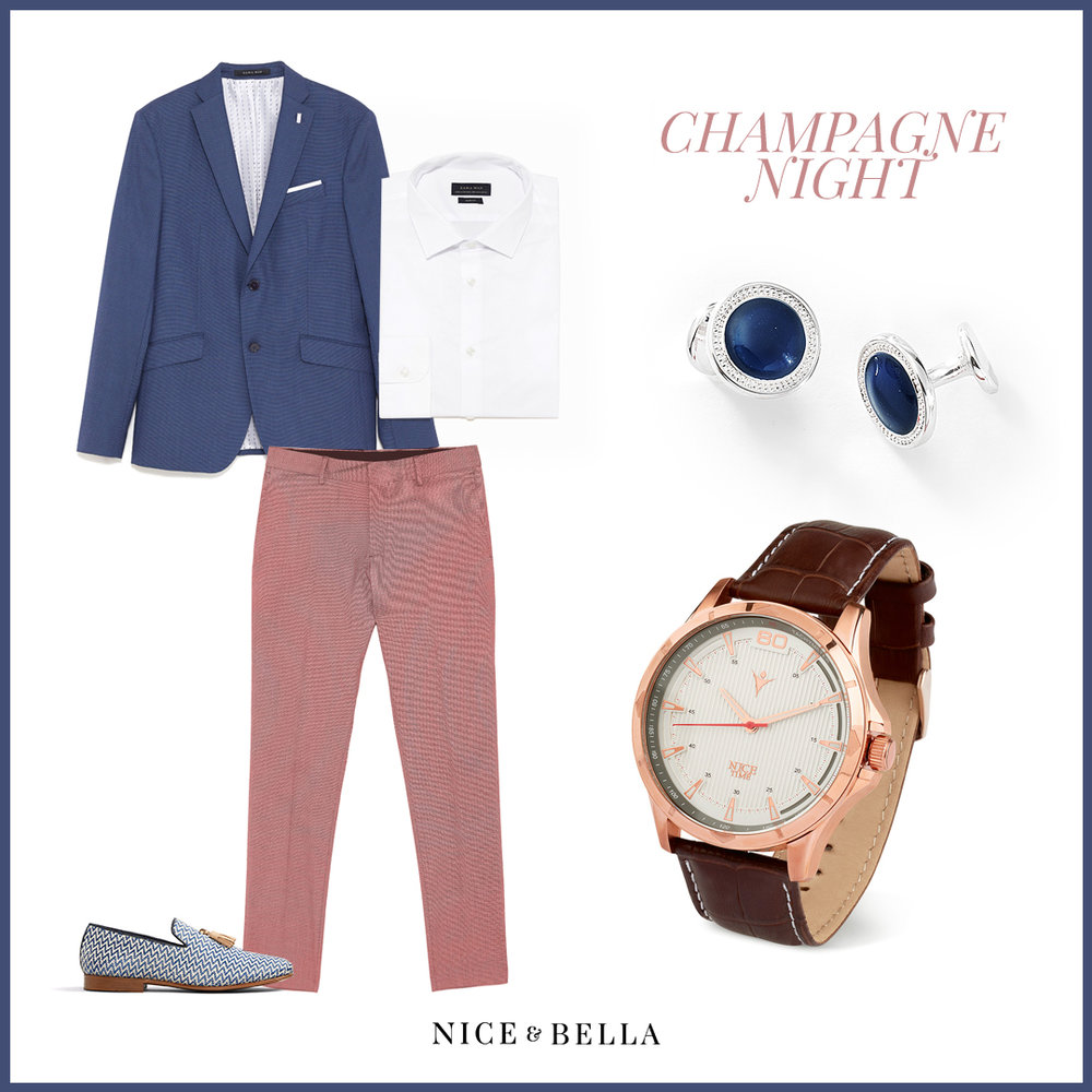 This elegant ensemble includes rose gold  suit trousers , blue  lounge suit , crisp white  button-down shirt , and an iconic tassel-topped blue and white  zig-zag loafer . Thought this outfit couldn't get better? It is meticulously paired with rhodium, blue stone cuff-links and a rose gold, brown watch.  Sku's: 1181231, 3161143