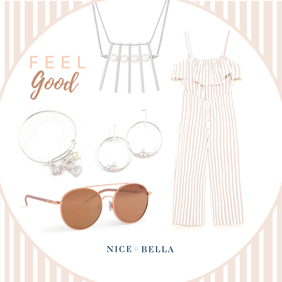 Pack light by taking one piece outfits such as this lovely  striped jumpsuit ! It's a beige and white, flowy jumpsuit perfect for a stroll on the boardwalk! It's paired beautifully with our pearly, rhodium necklace, earrings and bracelet. Tie the entire look together with our flirty, rose-gold shades.  Sku's:  1181392 ,  218572 ,  118453L ,  P146