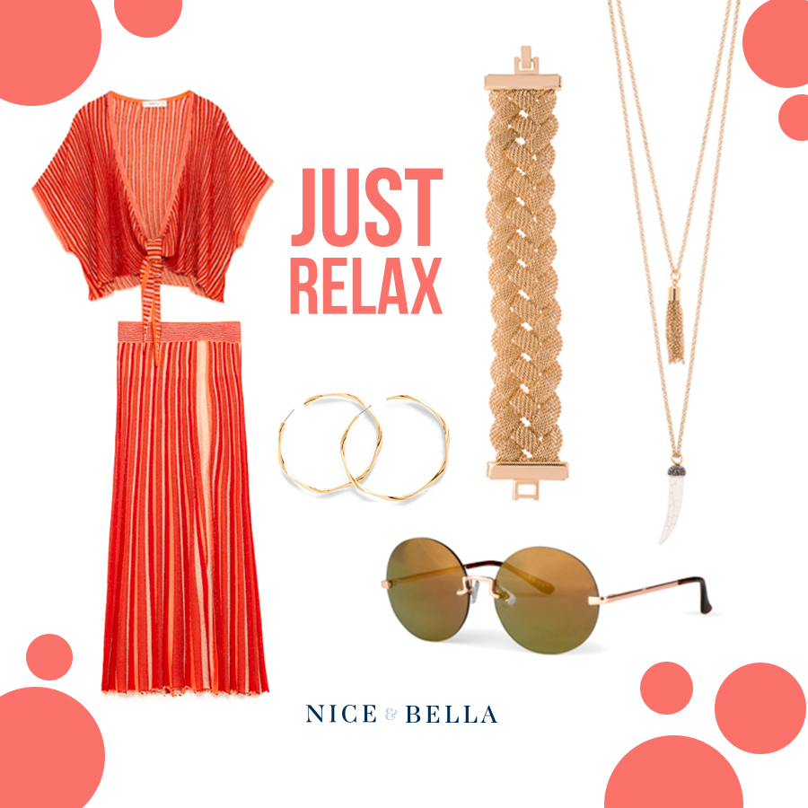 This outfit is the perfect look for a beach vacation! The  red, loose blouse  and matching  long skirt  scream summer vacation! It is made bold with a thick, golden bracelet, double-chained necklace accented with an imitation of a tusk, and twisted hoop earrings. Keep your eyes safe from the sun with our gorgeous, dark, round shades!  Sku's:  1181382 ,  218424L ,  218426L ,  118434 .
