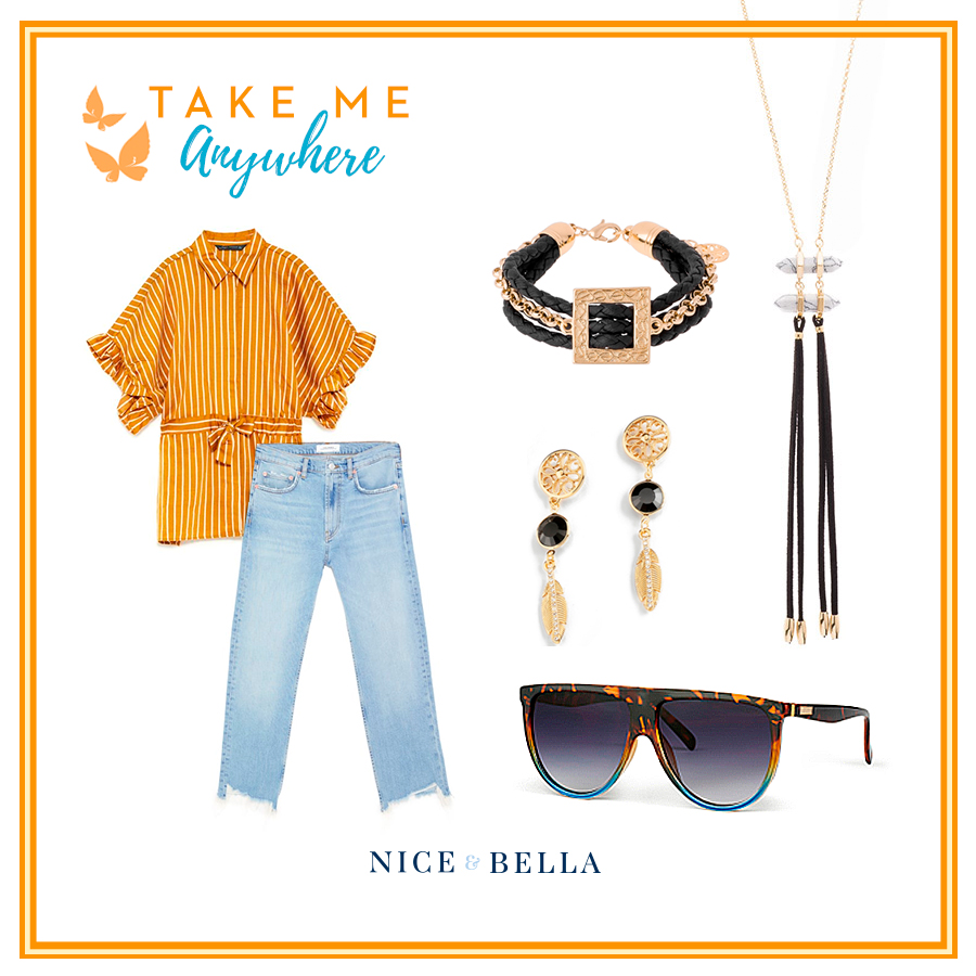 This look is the perfect for sight seeing!  Light blue jeans  and an  over-sized, yellow, striped shirt  show comfort and confidence. The outfit is paired with bold statement pieces, a gold chain bracelet intertwined with a faux leather band, gold drop earrings and a long gold necklace, accented with suede strings and marble imitations.  Sku's:  1181362 ,  118347L ,  118345L ,  118421