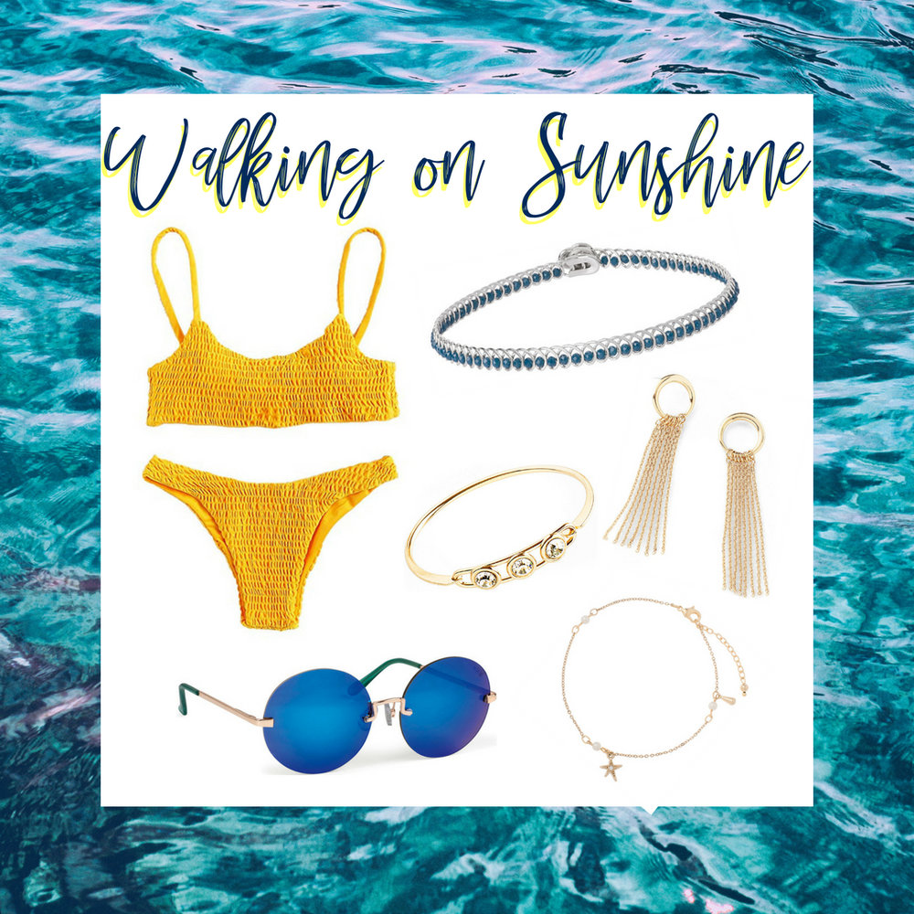 Take amazing pictures under the sun in this radiant yellow two piece! It is paired with our blue choker and sunglasses. Included in this look are gold drop chain earrings, crystal stone bracelet and starfish anklet.  SKU'S: 118551L, 118465, 118076, 1181381, EE120