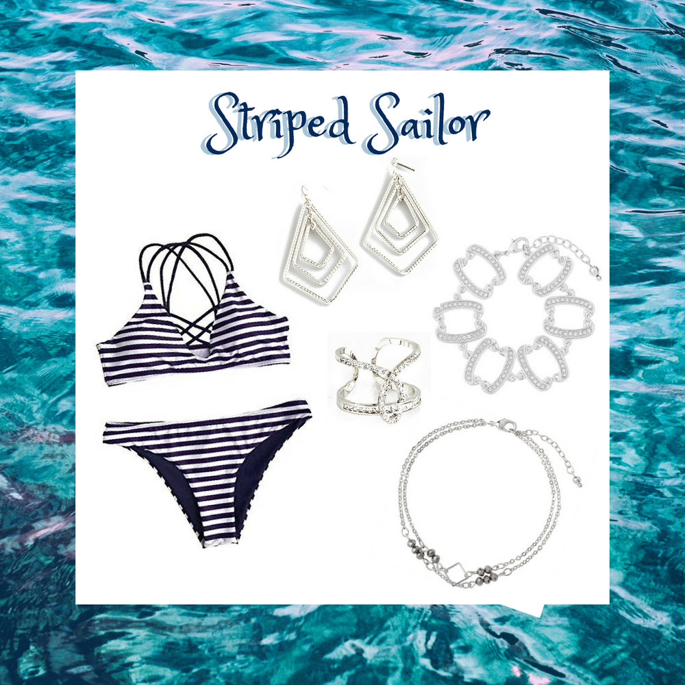 Sail away into the ocean with this stylish striped bathing suit. This bathing suit is paired with rhodium kite shaped earrings, diamond encrusted ring and bracelet, and anklet with grey stones.  SKU'S: EE129, 218285, 118125, 118163