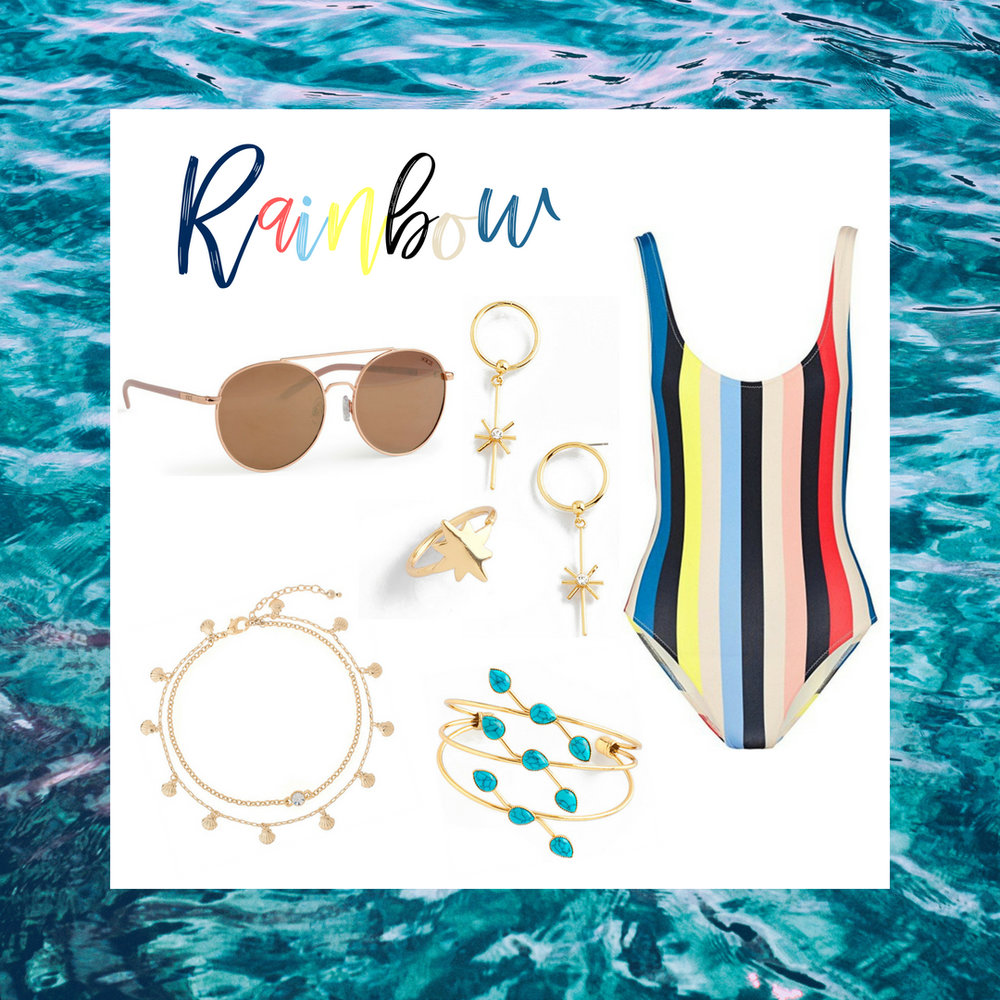 Take this colorful style to a kick back at the beach or even a pool party! This rainbow one piece suit is paired with gold star earrings, ring, anklet and bracelet accented with teal stones. Protect your eyes with our chic UV protected rose gold sunglasses.  SKU'S: 218685, 218305, 218557, 1181392, EE126