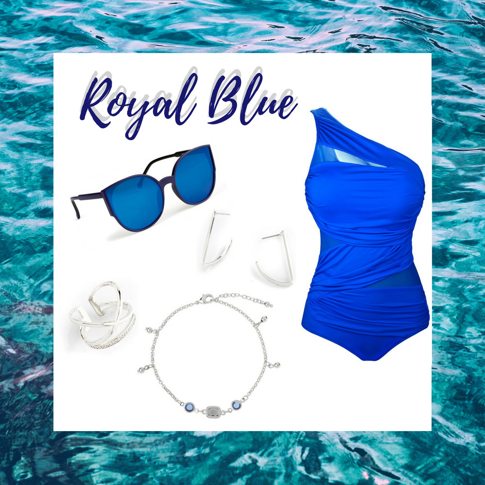 Be the blue gem at the beach in this royal blue one piece bathing suit. This beautiful bathing suit is paired with rhodium hook earrings, diamond encrusted ring and grey and blue crystal anklet.  SKU'S: 218645, 218337, 1181352, EE123