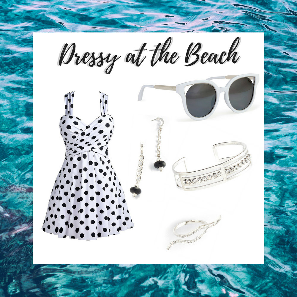 This look is perfect for before, during and after the beach! It is a polka dot dress style bathing suit accented with rhodium chain-link earrings, diamond encrusted bracelet and ring. Add some flare to your look with our white cat-eye sunglasses.  SKU'S: 118553L, 118135, 218274, 1181282