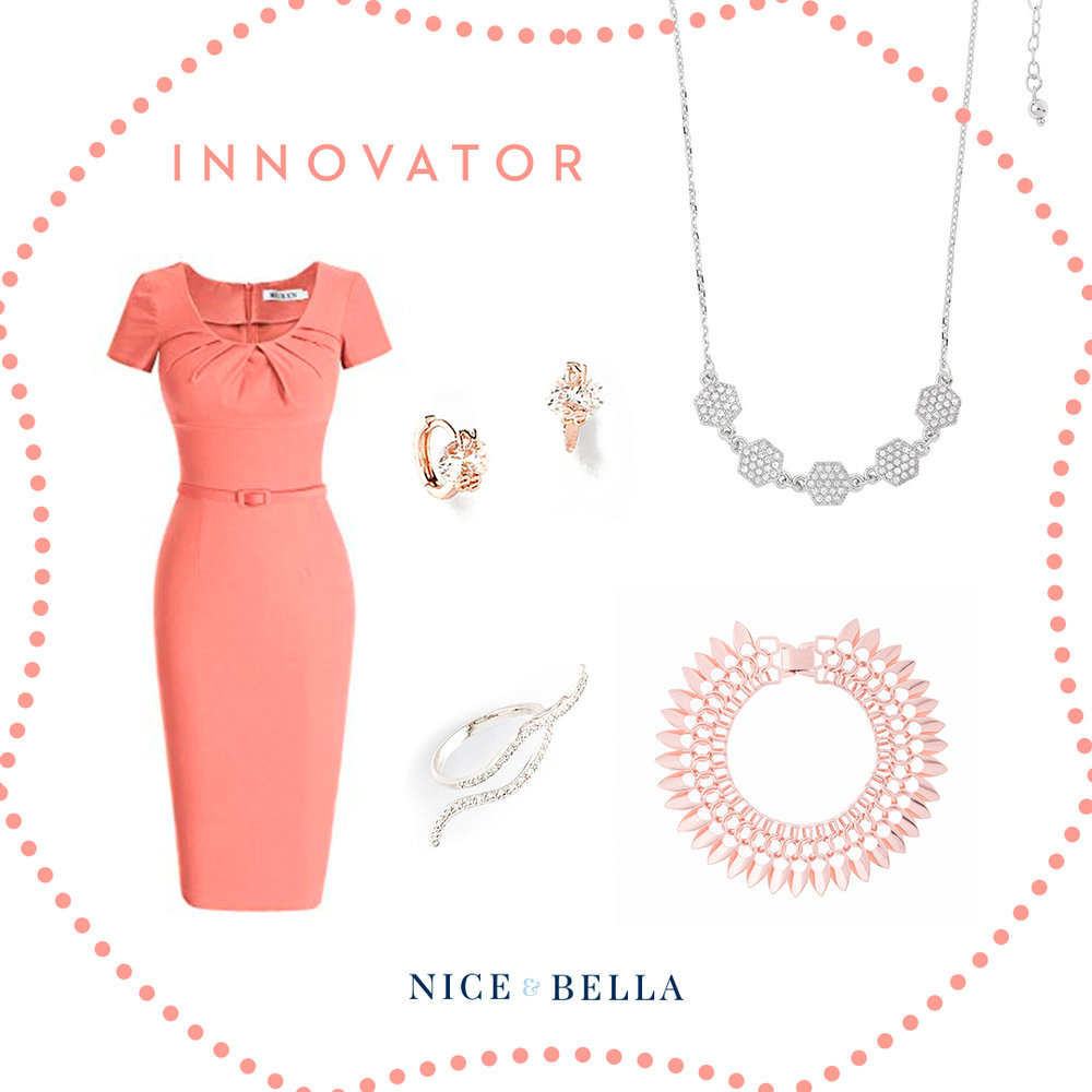 Thoughtfulness and class are given with this innovator look. A bodycon, salmon colored dress is paired beautifully with a delicate, rhodium necklace and ring. It's matched beautifully with a rose gold bracelet and earrings.  SKU'S: 218331, 218274, 317825, 118665