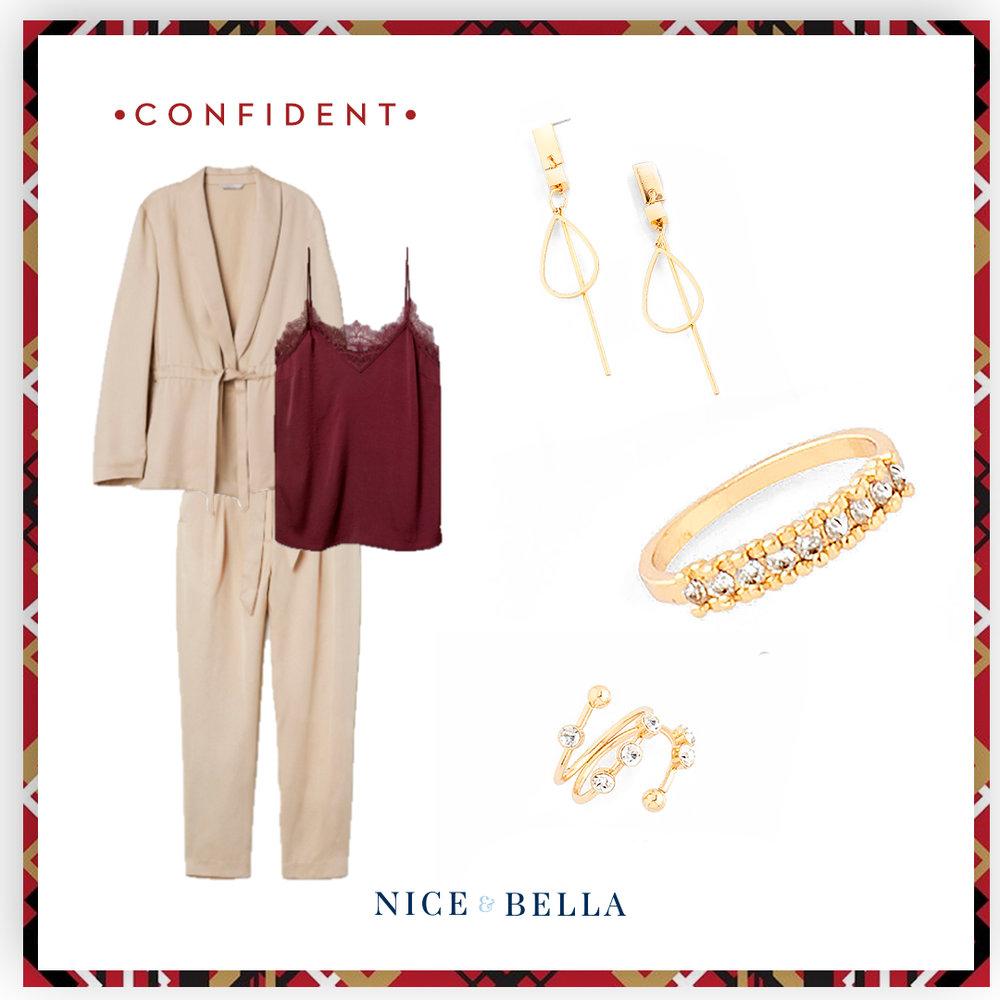 Exude confidence in this business casual look with khaki trousers, jacket and maroon lace shirt. The confident look is paired with delicate gold, drop earrings, and crystal encrusted ring and bracelet.  SKU'S:  218044, 218183, 218185