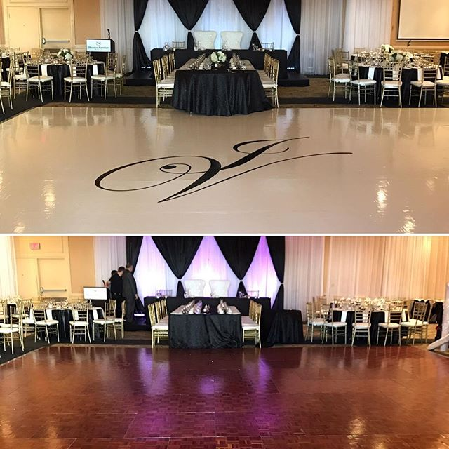 Just look at the difference white vinyl can make when you add it to your Dancefloor! 😍😍😍 Contact @marquee.design today and  Take advantage of our vinyl floor and media wall promo before January 1 2017!